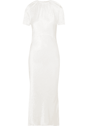 Georgia Alice - Crinkled-satin Midi Dress - White