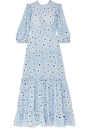 RIXO - Monet Ruffled Floral-print Cotton And Silk-blend Dress - Blue