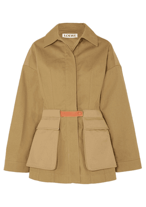 Loewe - Leather-trimmed Cotton-twill Jacket - Beige