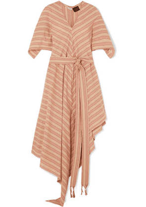 Loewe - + Paula's Ibiza Belted Striped Cotton-gauze Midi Dress - Beige