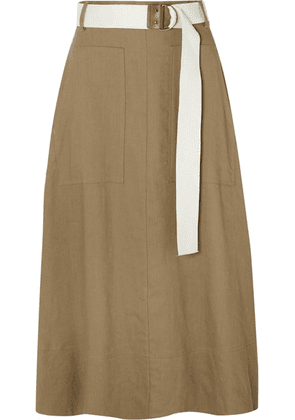 Tibi - Linen-blend Twill Wrap Midi Skirt - Army green