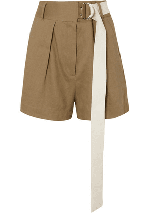 Tibi - Pleated Belted Linen-blend Twill Shorts - Army green