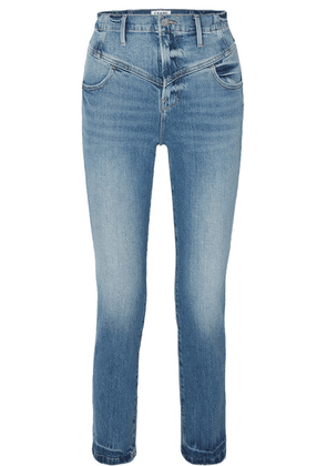 FRAME - Retro V Yoke High-rise Straight-leg Jeans - Mid denim