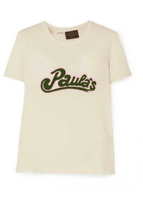 Loewe - + Paula's Ibiza Appliquéd Cotton And Silk-blend Jersey T-shirt - Cream