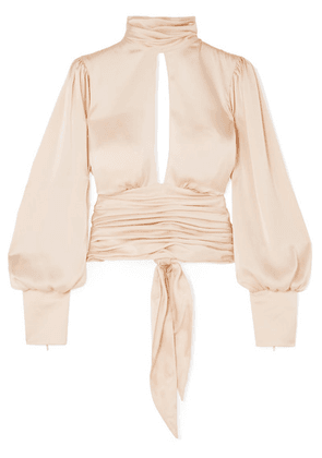 Orseund Iris - Night Out Open-back Ruched Satin Blouse - Neutral
