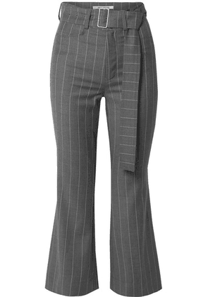 Orseund Iris - Cropped Belted Pinstriped Wool-blend Flared Pants - Gray