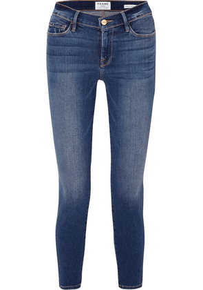 FRAME - Le Skinny De Jeanne Cropped High-rise Jeans - Dark denim