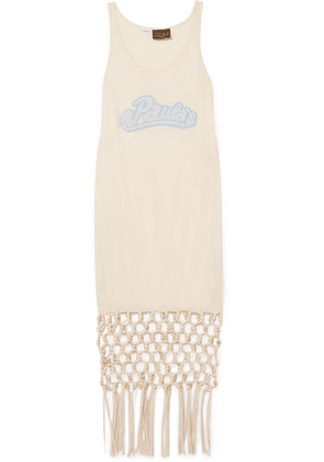 Loewe - + Paula's Ibiza Embellished Macramé-trimmed Silk And Cotton-blend Jersey Dress - Ivory