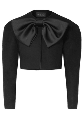 we11done - Cropped Bow-detailed Wool-blend Jacket - Black