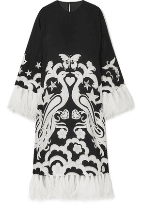 Valentino - Feather-trimmed Printed Silk-crepe Midi Dress - Black