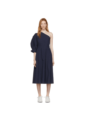 Edit Navy Origami Lantern Single-Shoulder Midi Dress