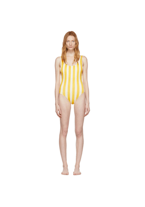 Solid & Striped Yellow & Off-White 'The Anne-Marie' One-Piece Swimsuit