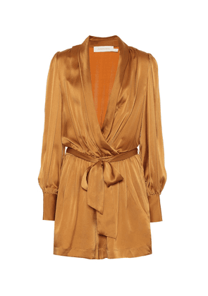 Silk satin wrap playsuit