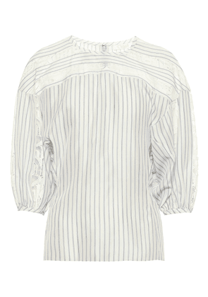 Lace-trimmed striped silk blouse
