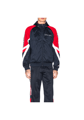 Champion Full Zip Hooded Jacket in Blue,Red