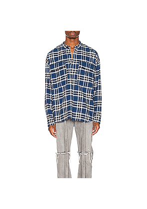 Fear of God Pullover Henley in Blue,Plaid