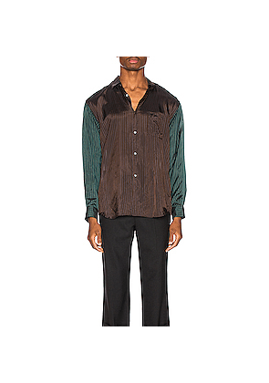 Comme Des Garcons SHIRT Long Sleeve Shirt in Brown,Green,Stripes