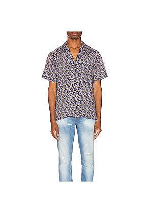 Nudie Jeans Arvid Hawaii Logo Bay Shirt in Abstract,Blue