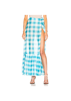 ADRIANA DEGREAS Vichy Long Pleated Skirt in Blue,Plaid,White