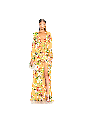 PatBo Zebrina Print Beaded Maxi Wrap Dress in Floral,Tropical,Yellow