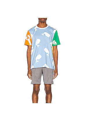 Thom Browne Funmix Multi Icon Print Tee in Animal Print,Blue,Yellow