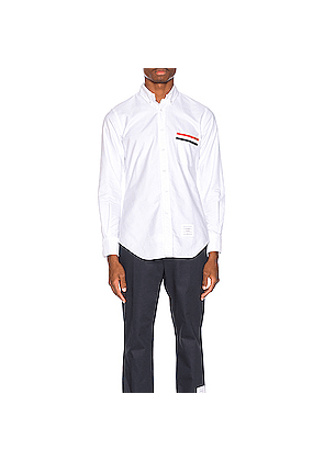 Thom Browne Pocket Collar Button Down Shirt in White