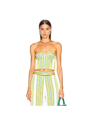Alexis Summer Bustier Top in Green,Stripes,White