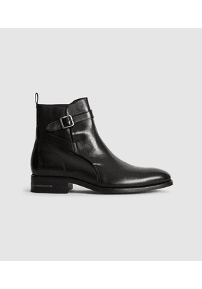 Reiss Dorst - Leather Boots With Strap Detail in Black, Mens, Size 7