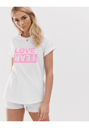 ASOS DESIGN t-shirt with love and fear motif in bright pink