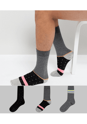 ASOS DESIGN socks with neon stripes & dots 3 pack