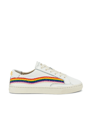 Soludos Rainbow Wave Sneaker in White. Size 5,5.5,6,9.5,10.