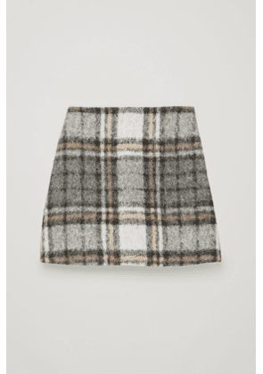 CHECKED WOOL A-LINE SKIRT