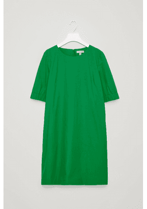 DRESS WITH ELASTICATED SLEEVES