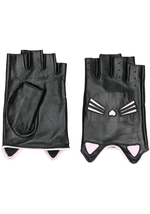 Karl Lagerfeld Cat fingerless gloves - Black
