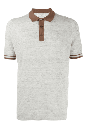 Brunello Cucinelli contrast details polo shirt - Grey