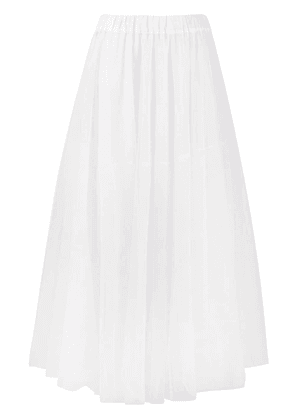 P.A.R.O.S.H. long mesh pleated skirt - White