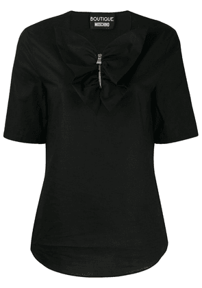 Boutique Moschino ruffled placket top - Black