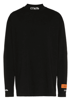 Heron Preston CTNMB print high neck cotton top - Black