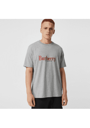 Burberry Embroidered Archive Logo Cotton T-shirt, Size: XXL, Grey