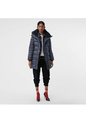 Burberry Down-filled Hooded Puffer Coat, Size: XXS, Blue