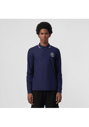 Burberry Long-sleeve Embroidered Logo Cotton Polo Shirt, Size: XS, Blue