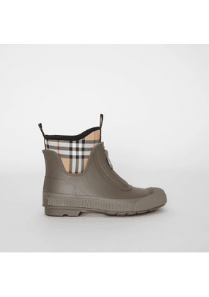Burberry Vintage Check Neoprene and Rubber Rain Boots, Size: 38, Green