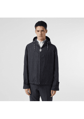 Burberry Pinstriped Wool Hooded Jacket, Size: 46, Blue
