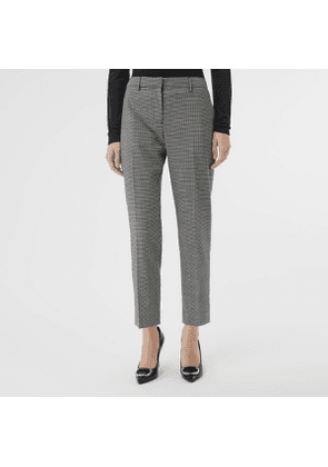 Burberry Houndstooth Check Wool Cropped Tailored Trousers, Size: 12, Black