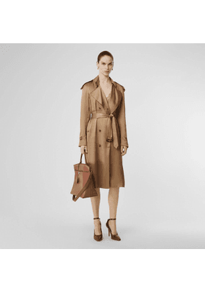 Burberry Silk Wrap Trench Coat, Size: 12, Yellow