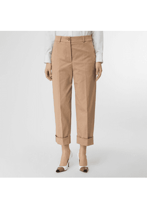 Burberry Icon Stripe Detail Stretch Cotton Cropped Trousers, Size: 06, Brown