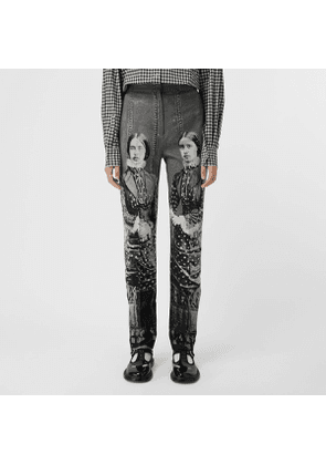 Burberry Victorian Portrait Print Stretch Wool Tailored Trousers, Size: 08, Grey