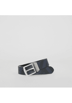 Burberry Reversible London Check and Leather Belt, Size: 85, Blue