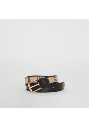 Burberry 1983 Check and Leather Belt, Size: 95, Black