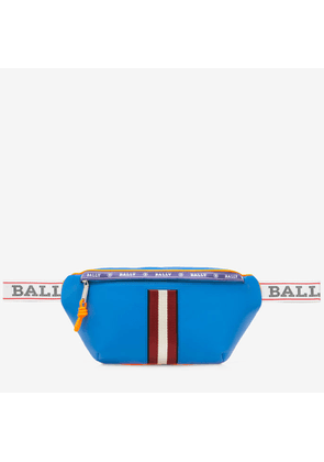 Bally Hakab Blue, Men's Leather Bum Bag In China Blue